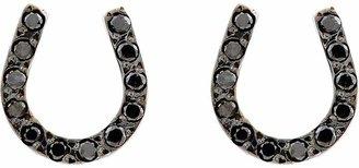 Ileana Makri Women's Pavé Black Diamond & White Gold Horseshoe Studs