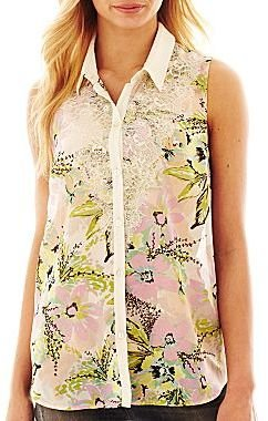 JCPenney Sleeveless Lace Button-Front Blouse