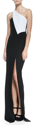 Yigal Azrouel Cut25 by One-Shoulder Colorblock Jersey Gown