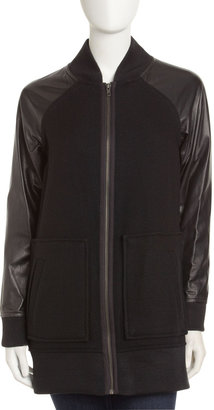 Yigal Azrouel Cut25 by Leather-Sleeve Jacket