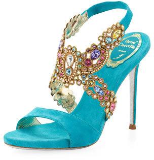 Rene Caovilla Jeweled Halter Platform Sandal, Turquoise Multi