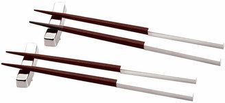 Natico Wood/Polished Metal Chopstick Set