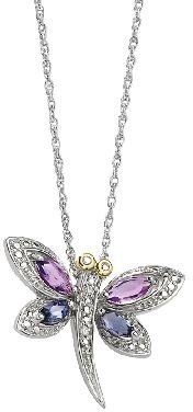 """Sterling 18"""" Amethyst & Iolite Dragonfly Necklace"""