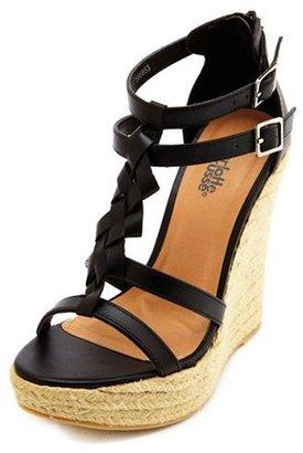 Charlotte Russe Braided T-Strap Jute Wedge Sandal