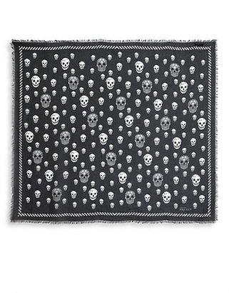 Alexander McQueen Skull-Printed Silk Scarf