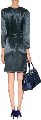 Tara Jarmon Crinkle Satin Dress in Navy Blue