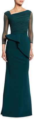 Chiara Boni Rippy Asymmetrical 3/4-Sleeve Illusion Gown