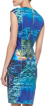 Rachel Roy Sea-Print Cap-Sleeve Sheath Dress