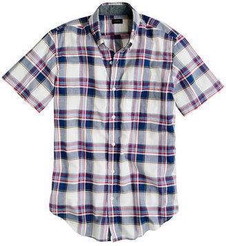 J.Crew Indian cotton short-sleeve shirt in deep cove plaid