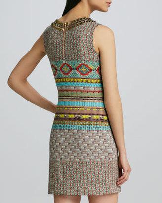 Cluny Studded Keyhole Printed Dress