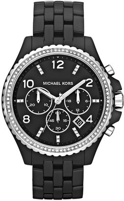 Michael Kors Watch, Women's Chronograph Pilot Black Acetate Bracelet 44mm MK5490