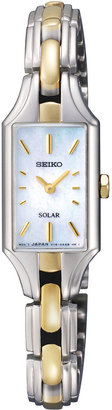 Seiko Womens Two-Tone Mother-of-Pearl Solar Watch SUP164 $285 thestylecure.com