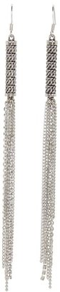 GUESS Textured Fringe Linear Earrings (Silver) - Jewelry