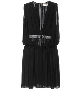 Saint Laurent Silk-chiffon dress with lace and leather detail
