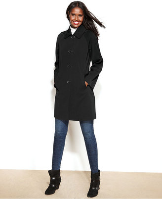 London Fog Hooded Clip-Front Raincoat