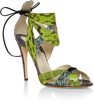 Brian Atwood Uma Snakeskin Sandals
