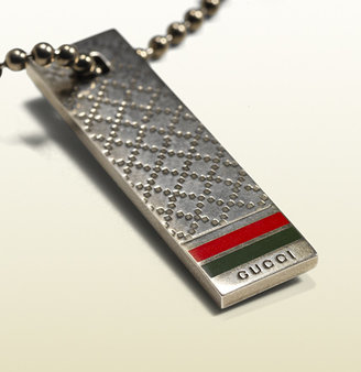 Gucci Keyring In Sterling Silver With Diamante Pattern