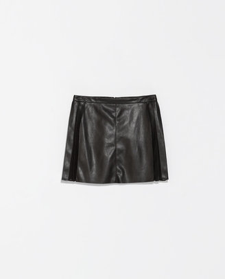 Zara Faux Leather Skirt With Box Pleats
