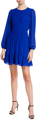 Milly Jackie Blouson-Sleeve Chiffon Dress