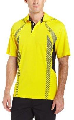 PGA TOUR Men's Short Sleeve Skeletal Block Polo Shirt With Self Collar