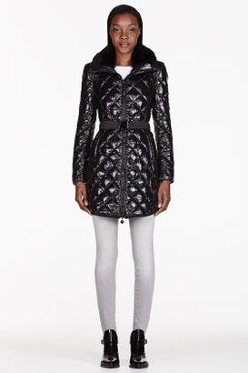 Moncler Black fur-trimmed & quilted Glaciers coat