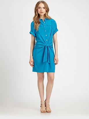 DKNY Tie-Front Stretch Silk Shirtdress
