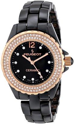 Peugeot Swiss Ladies Black Ceramic Rose Gold Crystal Bezel Watch PS4892BR