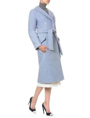 Carven Blue Crushed Wool Coat