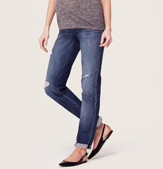 LOFT Maternity Boyfriend Jeans in Mid Blue Wash