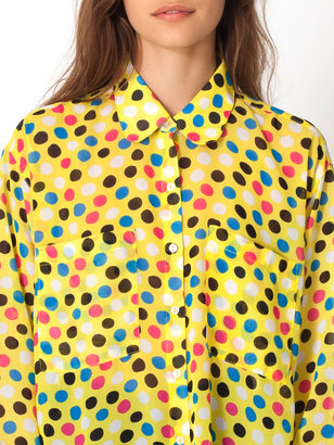 American Apparel Polka Dot Chiffon Oversized Button-Up