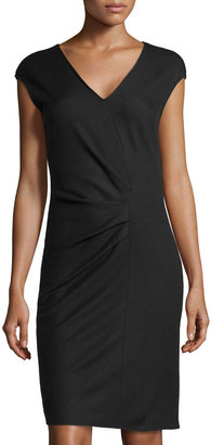 Halston Faux-Wrap Wool Dress, Coal