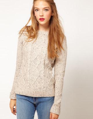 A/Wear A Wear Flecked Cable Knit Sweater