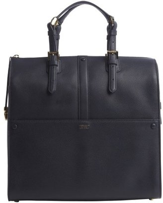 Armani navy leather 'Bauletto Medio' top handle bag