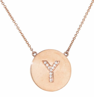 Jennifer Meyer Diamond Letter Pendant Necklace - Rose Gold