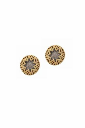 House Of Harlow Two-Tone Engraved Stud Earrings in Gold