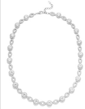 Eliot Danori Silver-Tone Crystal and Cubic Zirconia Marquise and Circle Framed Link Necklace (19 ct. t.w.), Created for Macy's