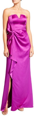 Aidan Mattox Strapless Satin Side-Slit Gown