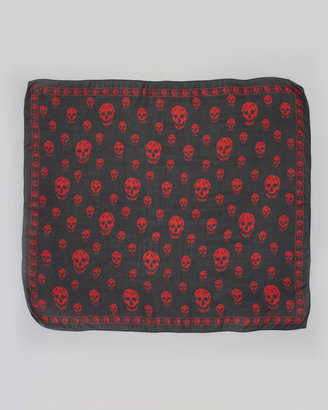 Alexander McQueen Skull-Print Chiffon Scarf, Dark Purple/Red