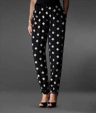 Emporio Armani Pants In Pure Silk With Flower Pattern