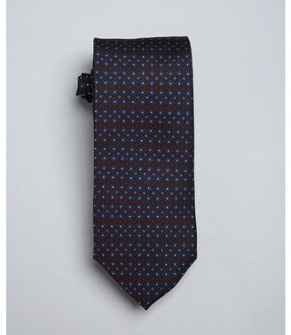 Prada baltic blue and maroon dot print silk tie