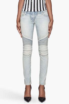 Balmain Blue faded reinforced biker Jeans