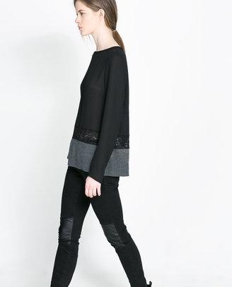 Zara Lace & Knit Top