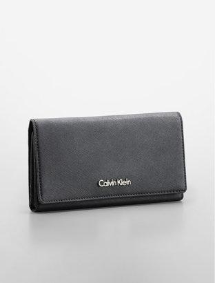 Calvin Klein Saffiano Leather Flap Close Continental Wallet