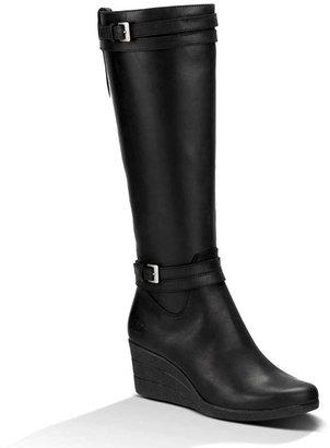 "UGG Irmah"" Black Leather Tall Wedge Boot"