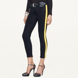 Ralph Lauren Black Label Denim Leather-Striped 400 Zip Jean