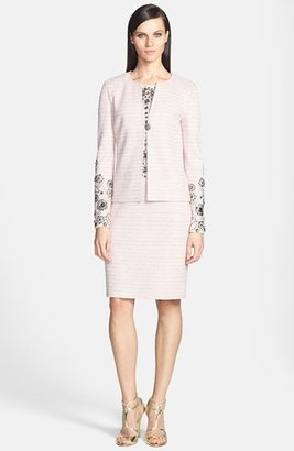 St. John Beaded Shantung Shimmer Knit Jacket