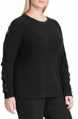 Lauren Ralph Lauren Plus Lace-Up Cotton Sweater