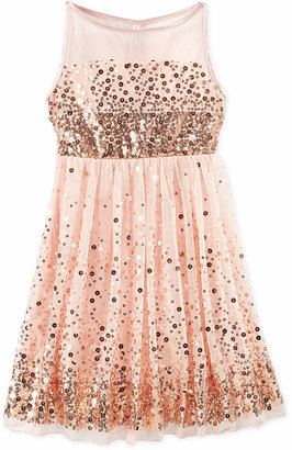 Crystal Doll Sequin Illusion Dress, Big Girls (7-16) $58 thestylecure.com
