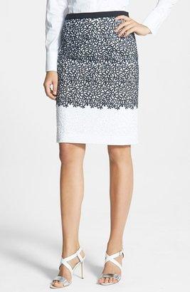 HUGO BOSS BOSS 'Veleva' Embroidered Cotton Skirt