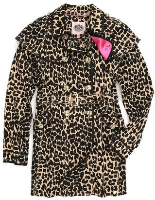 Juicy Couture Leopard Print Trench Coat (Big Girls)